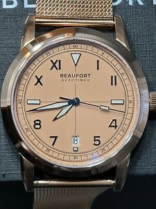 Beaufort Aerotimer Salmon Dial Pink Rose Gold Case California Automatic Watch