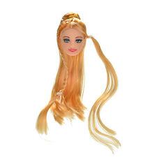 """1x Tête de poupée Golden Long cheveux raides pour 11 """"poupées Barbies 9HK"""