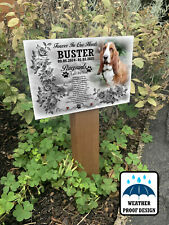 Personalised dog graveside marker, Memorial plaque and wooden stake.