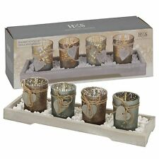 Home Decor 4 Tea Light Holders With Modern Wood Tray Mantle Display Gift Set