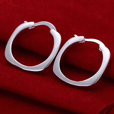 Free shipping wholesale sterling solid silver square hoop Earrings XCSE123