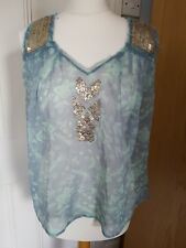 Kimchi Blue Urban Outfitters floaty vest top with metallic trim UK size M Sea