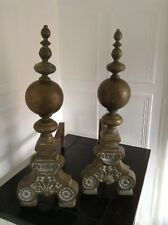 VINTAGE PAIR COUNTRY HOUSE SOLID BRASS BALL HEAVY FIREPLACE ANDIRONS FIRE DOGS