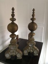 VINTAGE PAIR OF LARGE SOLID BRASS BALL HEAVY FIREPLACE ANDIRONS FIRE DOGS