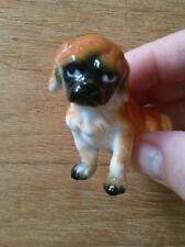 Vintage miniature Fine English China porcelain pug dog glazed ornament