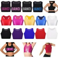 Kids Girls Basic Dance Bra Tops Solid Color Gym Outfit Shiny Performing Crop Top