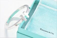Tiffany & Co Sterling Silver T Square Bangle Love Bracelet Size Large w/ Pouch