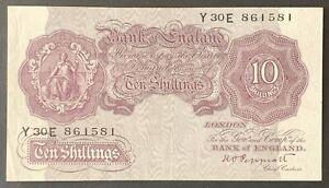 Bank of England. Ten Shillings. B251. K.O. Peppiatt. 1940. Y30E 861581. (HV37)