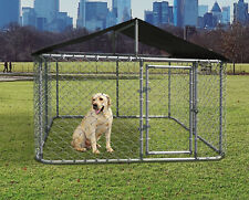 10x10ft Large Outdoor Heavy Duty Dog Kennel Steel Pet Dog Cage Fence w/ Cover