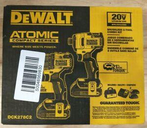 DEWALT DCK278C2 ATOMIC Brushless Compact 20V MAX Drill & Impact Combo Kit New