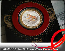 1oz Australian Perth Mint 2010 Lunar Tiger Silver Coloured Coin in Framed