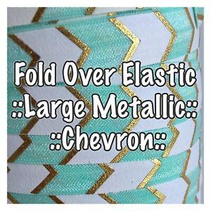 2 Metres - Fold Over Elastic - Large Metallic Chevron