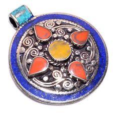 Turquoise Coral Lapis Gemstone Pendant, Tibetan Silver Women Jewelry Gift TP257