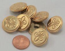 """Lot of 8 Gold Tone Fleur De Lis Puffed Hollow Metal Buttons 13/16"""" 20mm  # 6503"""