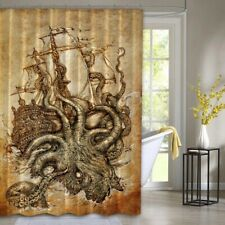Kraken Steampunk Octopus Sea Brown Waterproof Shower Curtain Exclusive Design
