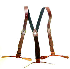 Brown Leather 1inch wide Suspenders Old West Style Brass Buckles Button Ends