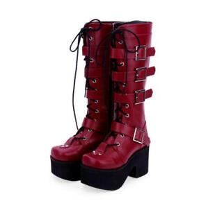 Womens Fashion Gothic Punk Chunky Heels Knee High Boots Platform Cosplay Shoes