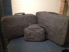 Vintage Retro Oscar De La Renta Gray Tweed 3pc Luggage Set Suitcase Carry on Bag