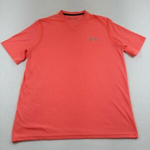 Under Armour Adult Medium Athletic T-Shirt V-Neck Bright Coral Pink Loose Fit