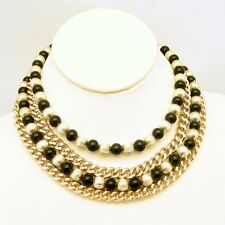 JAPAN Vintage 4 Multi Strand Necklace Chunky Black Beads Fluted Gold Plated