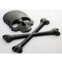 1x Car SUV 3D Metal Skull Head Bone Logo Modified Emblem Sticker Decal Accessory