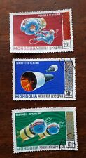 3 x Mongolian Stamps. 60s US/ USSR SPACE TRAVEL Images. Gemini/ Vostock/ Voskhod