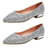 Damen Slipper Glitzer Gr.40-43 Schuhe Kunstleder Einfach Spitz Herbst Komfort D