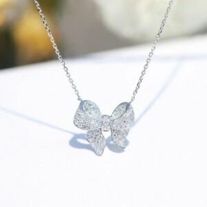 925 Silver Butterfly Bow Zircon Pendant Necklack Chain Women Jewelry Gifts Hot