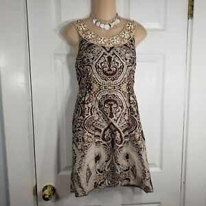 FREE PEOPLE Size 4 Brown & Beige Sleeveless Beaded Dress Cotton Womens