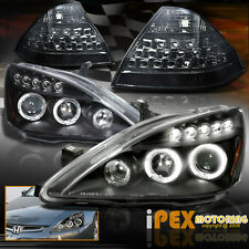 2006-2007 Accord Halo Black Projector Head Light W/ Smoke LED Tail Lamps Cover