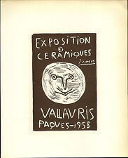 1959 Mini Poster Lithograph ORIG Print Pablo Picasso 1958 Caramics Ceramiques