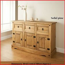 Rio Wide Sideboard Solid Pine In A Rustic Finish With Iron Style Fixings