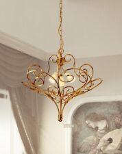 Lampadario classico in metallo oro invecchiato e vetri crema coll. Dese 4370-3S