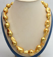 Gold Baroque Pearl Necklace 18'' New 14X19Mm Gold South Sea