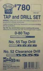Kadee HOn3-O Scale #780 ~ Tap & Drill Set 0-80 Tap ~ #55 Drill ~ #52 Clearance