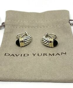 David Yurman Sterling Silver and Onyx 14k Renaissance Shrimp Earrings