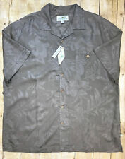 Men's Island Shores Button Front Hawaiian Casual Shirt Brown Size XL