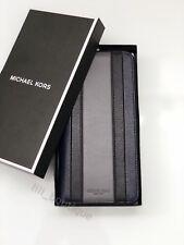 NWT Michael Kors Mens Warren Tech Zip Around Wallet Leather Patchwork Navy Multi