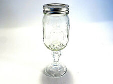BALL Mason Jar Pedestal Wine Glass Red Neck Hillbilly Clear Glassware w/Lid