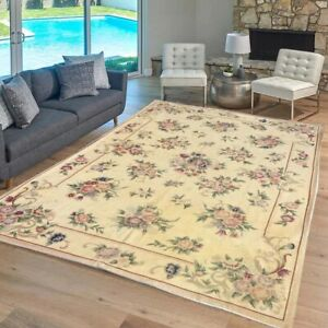 Vintage Aubusson Rug Handwoven Floral Needle point Home Decoration Rug 5x8