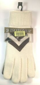 Isotoner Stretch Classic, Warm, Winter Gloves. NOS NWT Off-White w/brown accents