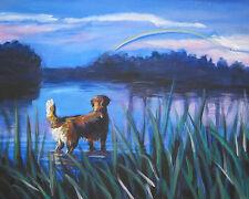 "Golden Retriever dog art Canvas Print of Lashepard painting Lshep 8x10"" rainbow"