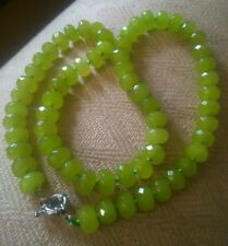 Natural olivine real Peridot necklace.Big 9x6mm AA opaque abacus beads.UK SELLER