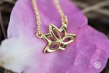 GOLDEN WATER LILY NECKLACE - 925 Sterling Silver Lotus Flower Ohm Charm Pendant