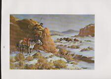 "Fred Harman-""The Lone Hunter""-Native American Warrior,Buffalo-Snow-Western Art"