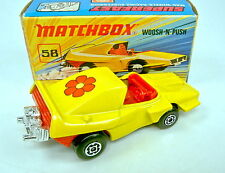 "Matchbox SF Nr.58B Woosh'n'Push gelb mit ""roter Blume"" Aufkleber top in Box"