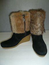 MODERN VINTAGE Black Suede Slip On Ankle BOOTS SZ 7 US