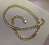 """10k Solid Gold Comfort Concave Cuban Curb Link Chain Necklace 24"""" 4.7mm 12 grams"""