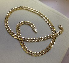 "10k Solid Gold Comfort Concave Cuban Curb Link Chain Necklace 20"" 4.7mm 10 grams"