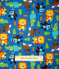 Timeless Treasures Hiking Trail Animals Moose Lion Bear 1001 Cotton Fabric YARD